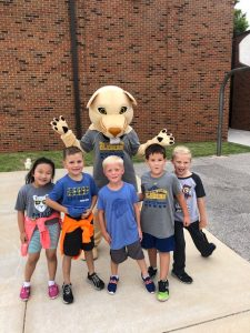 mascot and first graders